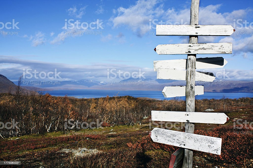 Hiking signs in the wilderness stock photo