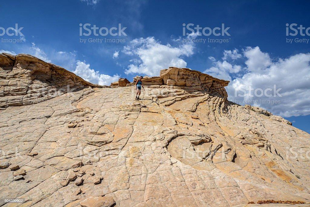 Hiking slickrock stock photo