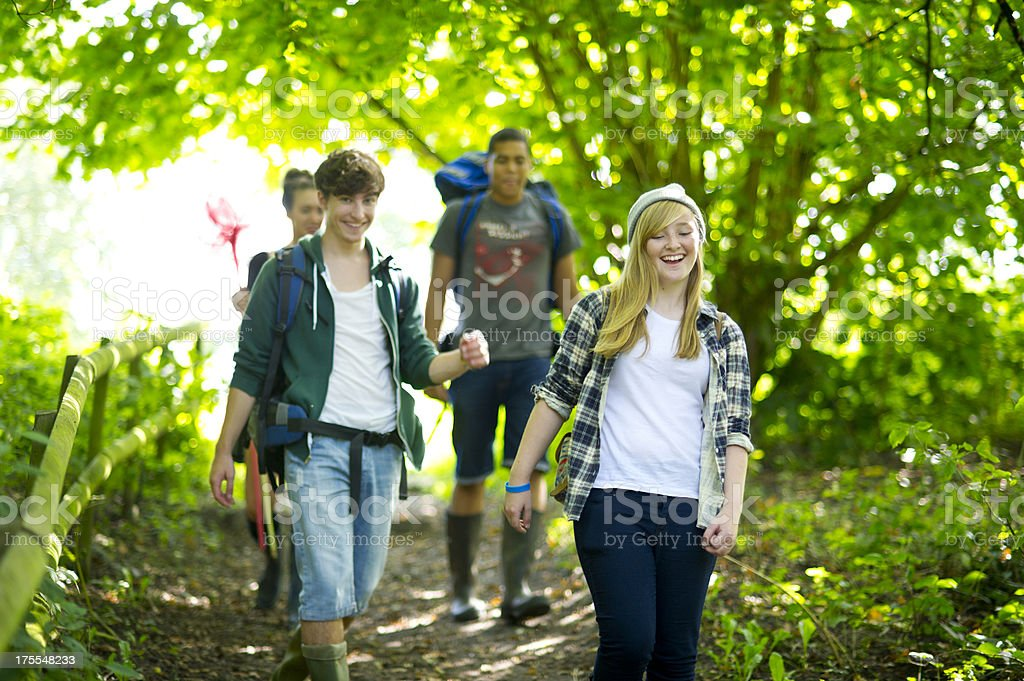 hiking teenagers royalty-free stock photo
