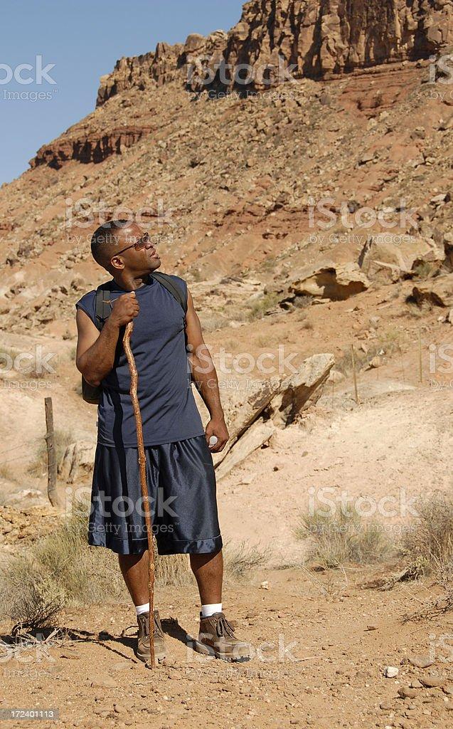 Hiking the Desert stock photo
