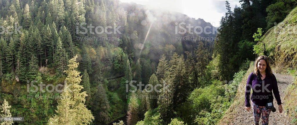 Hiking the Eagle Creek Trail stock photo