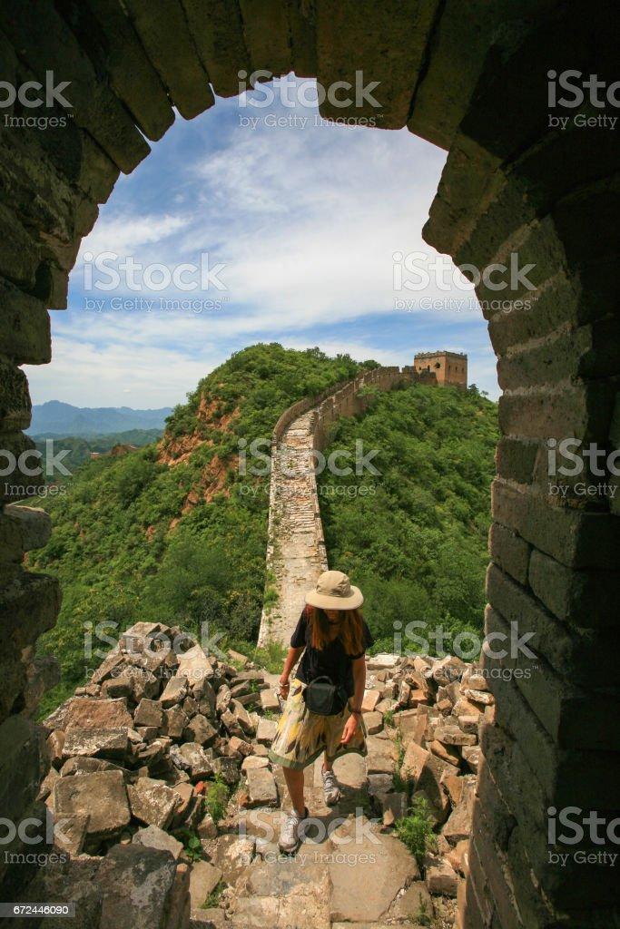 Hiking the Great Wall between Jinshangling and Simatai, China. stock photo