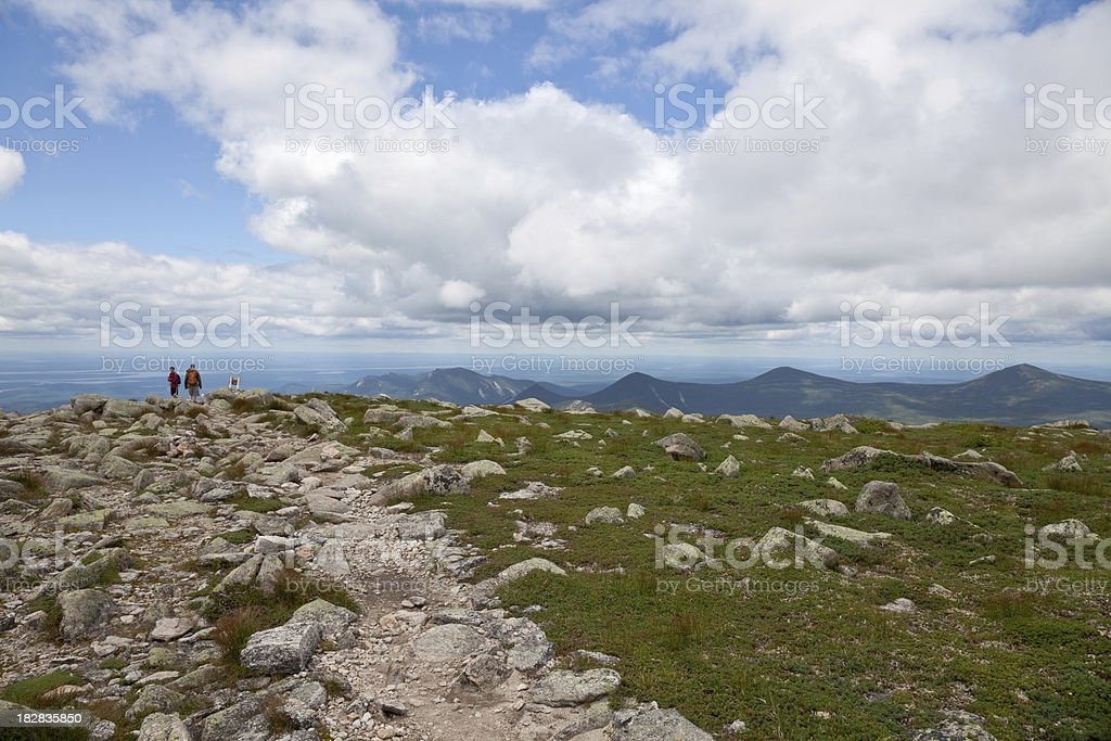 Hiking the Hunt trail on Katahdin stock photo