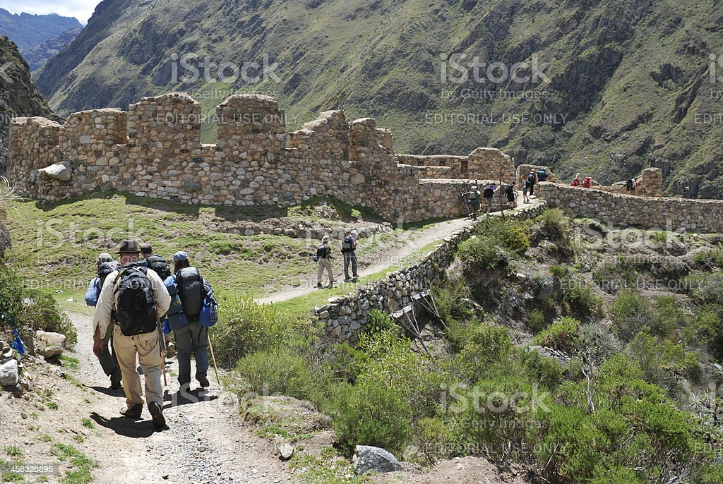 Hiking the Inca Trail stock photo
