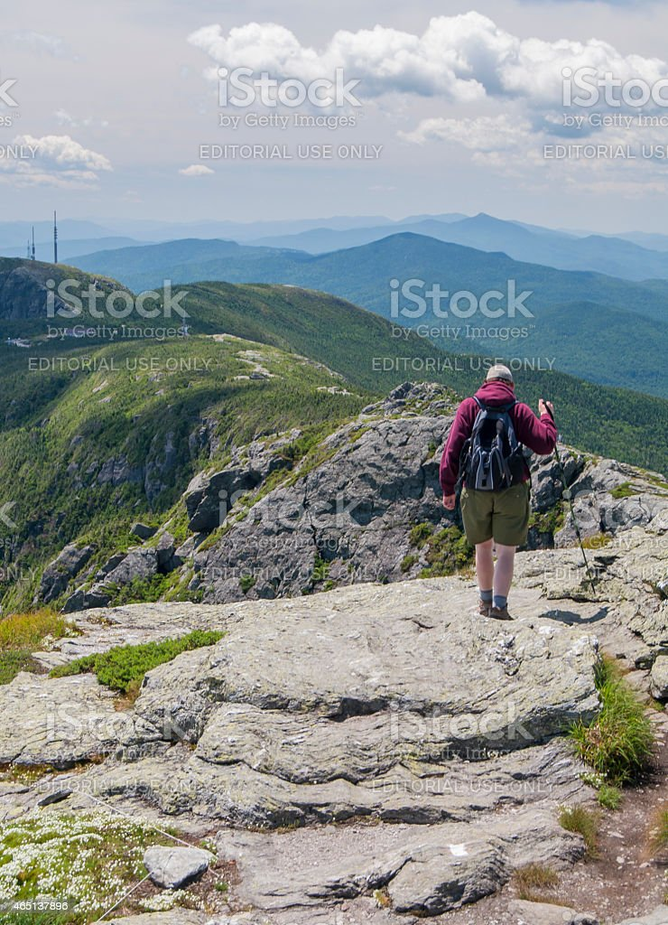 Hiking the Long Trail on Mt. Mansfield stock photo