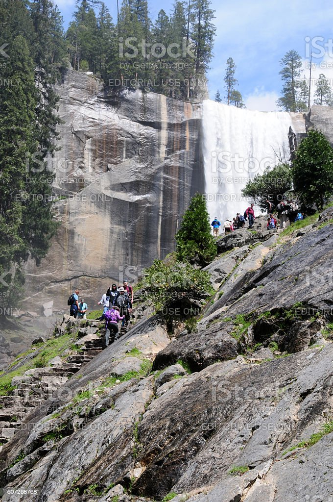 Hiking the Mist Trail up Vernal Falls, Yosemite stock photo