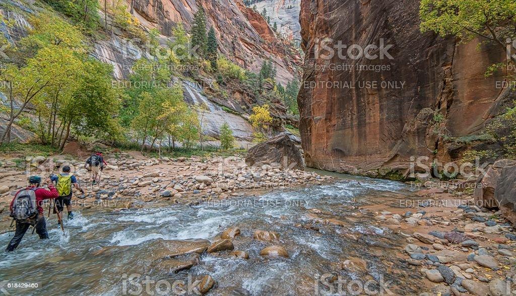 Hiking the Narrows stock photo