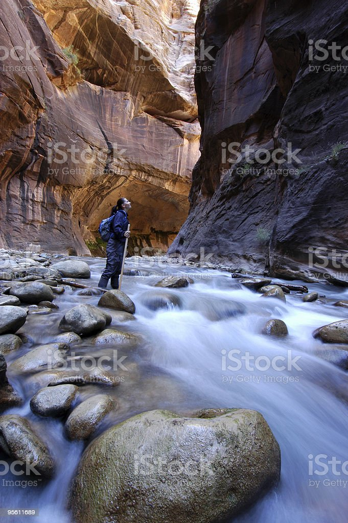 Hiking the Narrows royalty-free stock photo