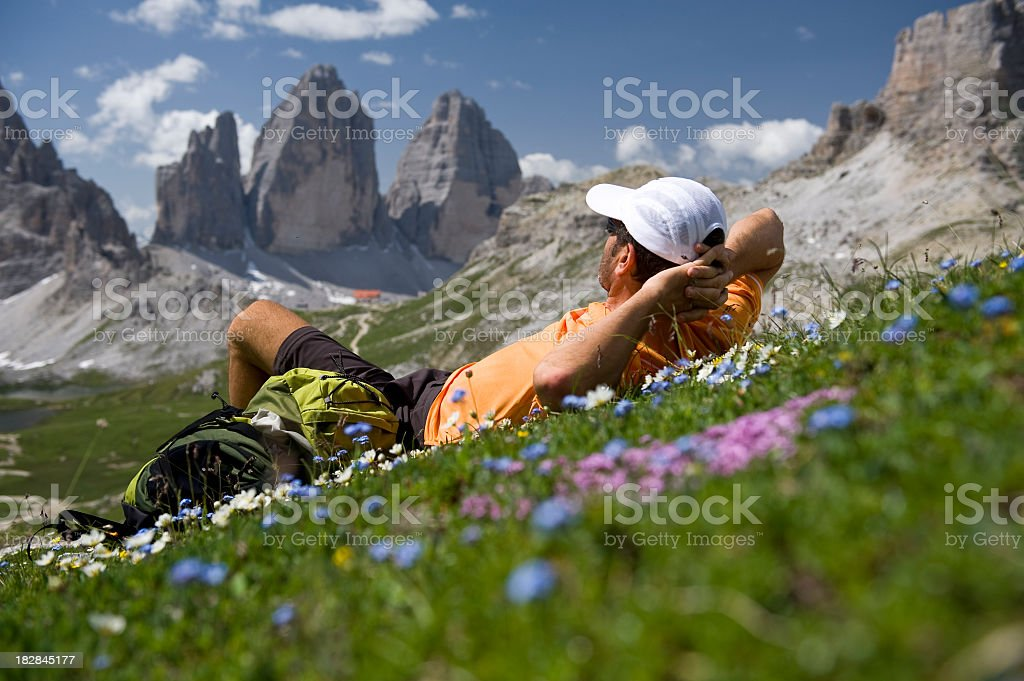 Hiking the Tre Cime Di Lavaredo stock photo
