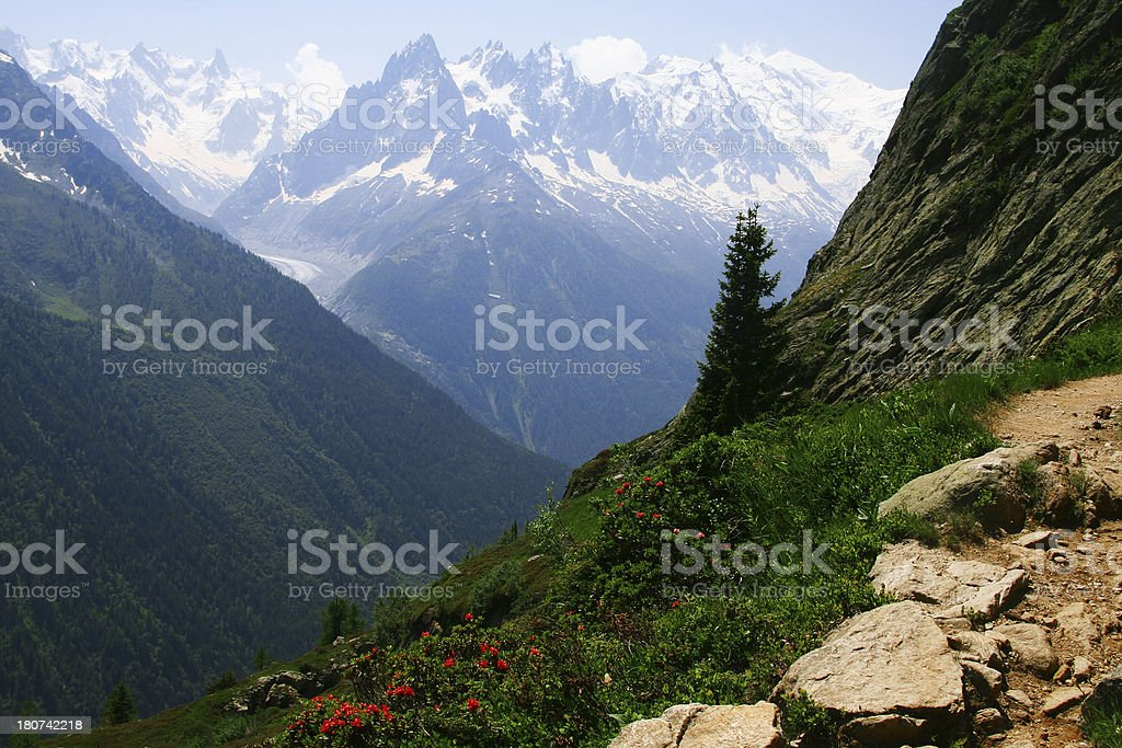 Hiking the Tour du Mont Blanc Trail in France stock photo