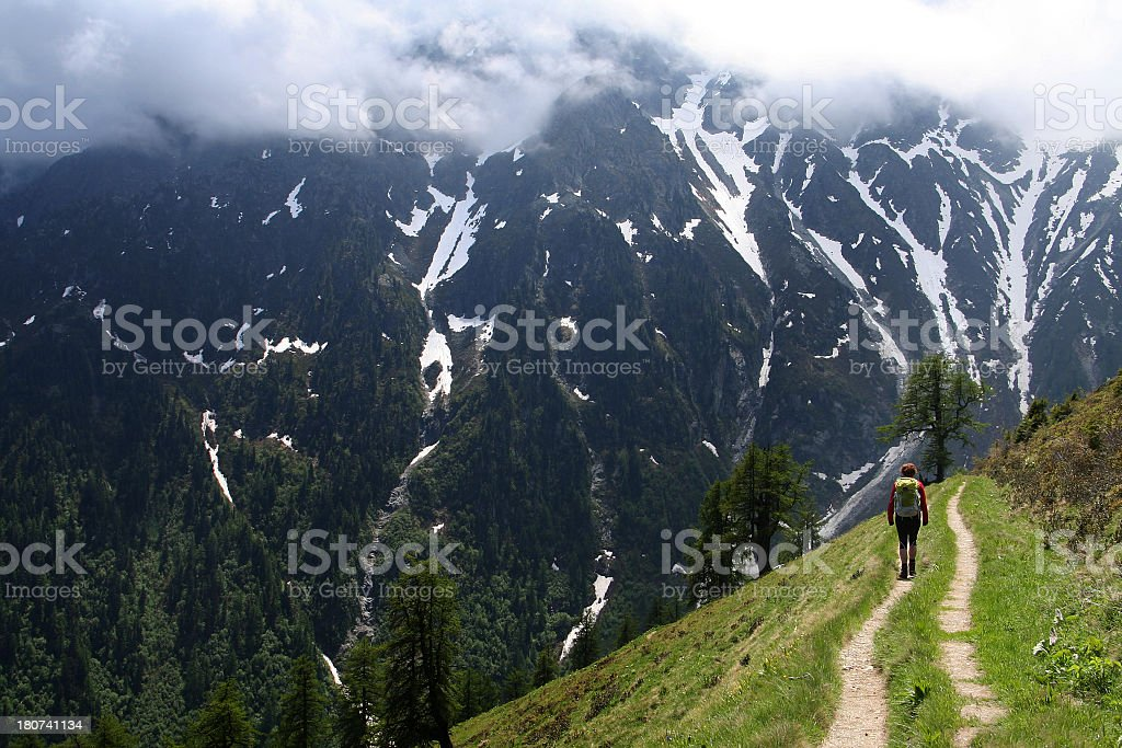 Hiking the Tour du Mont Blanc Trail in Switzerland stock photo