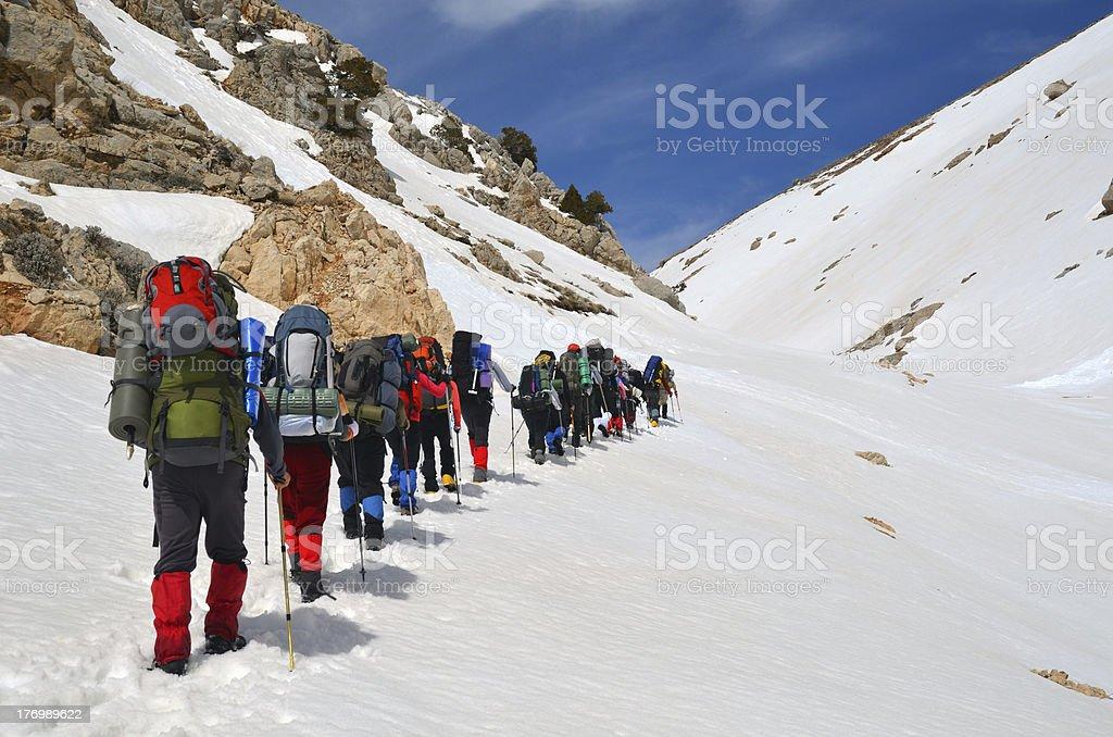 Hiking Through Snow royalty-free stock photo