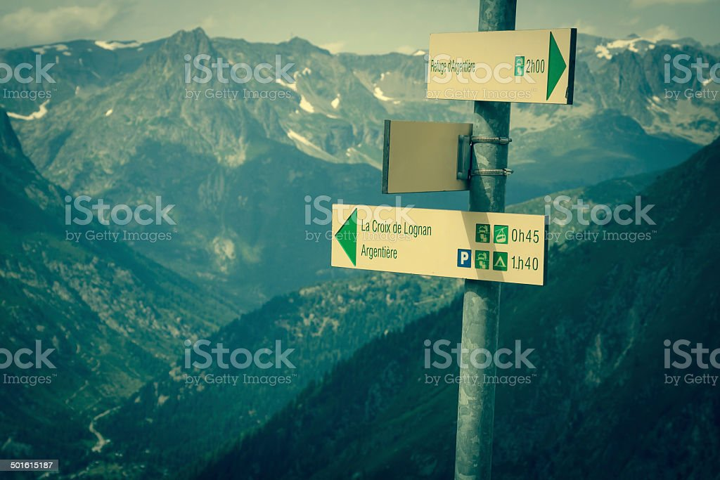 Hiking to Argentiere glacier with the view on the massif stock photo