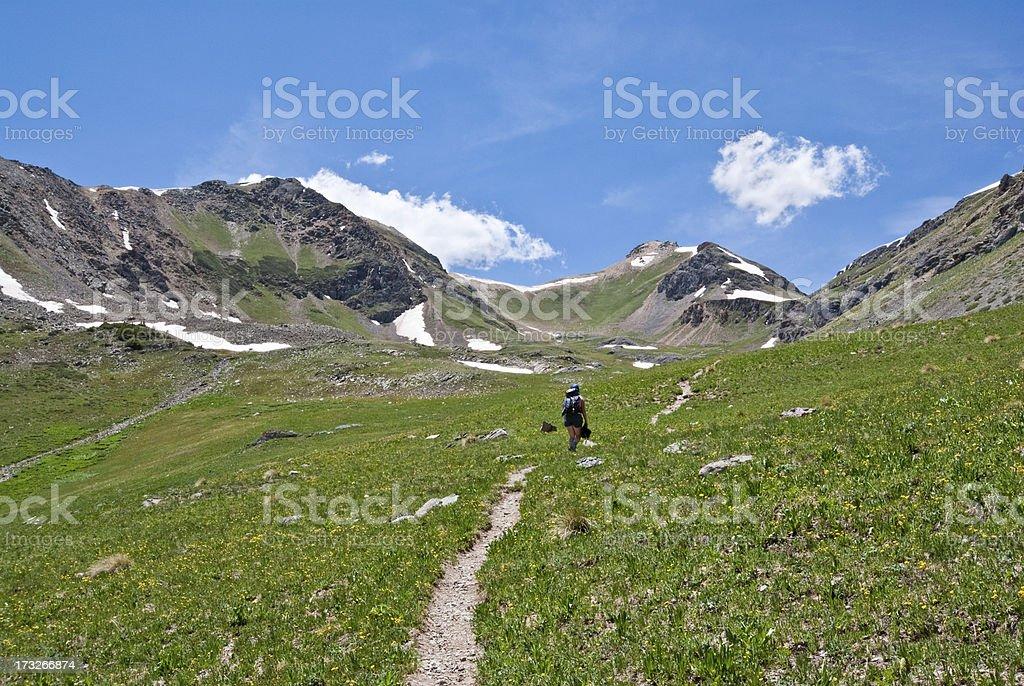 Hiking to Columbine Lake Pass stock photo