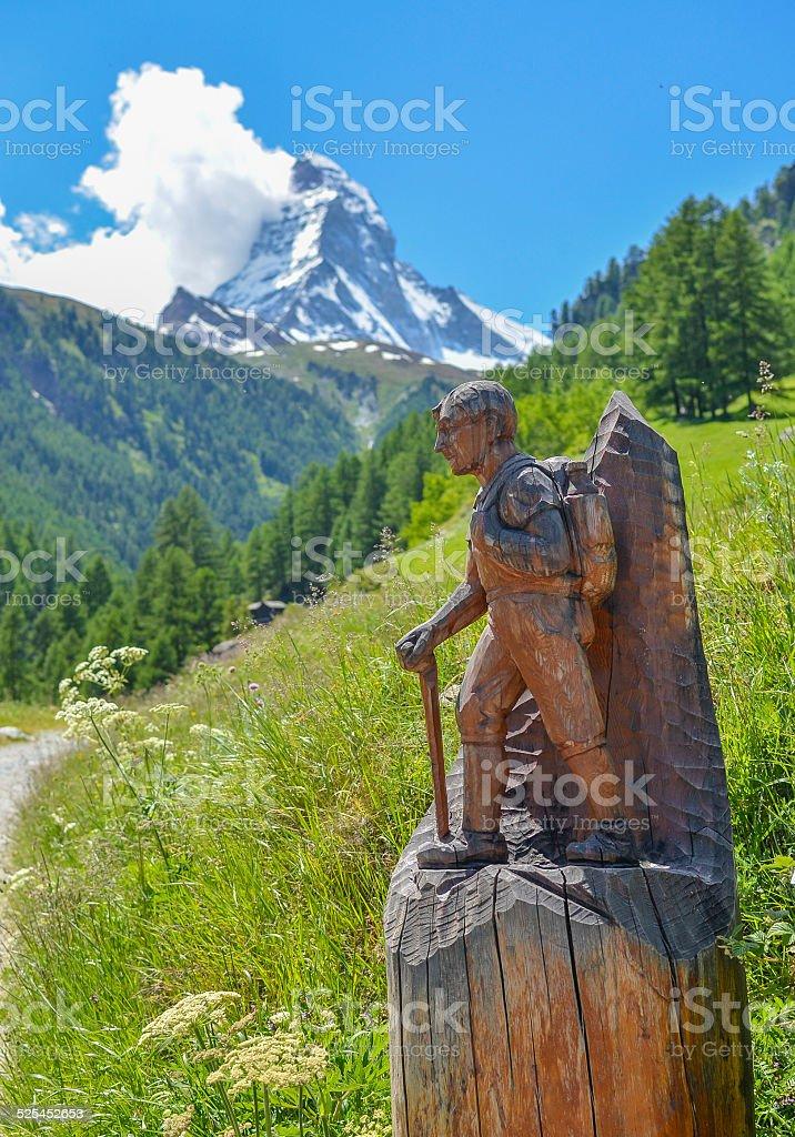 Hiking to Matterhorn, Swiss Alps stock photo