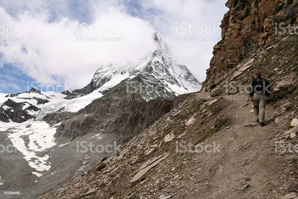 Hiking to the Matterhorn royalty-free stock photo
