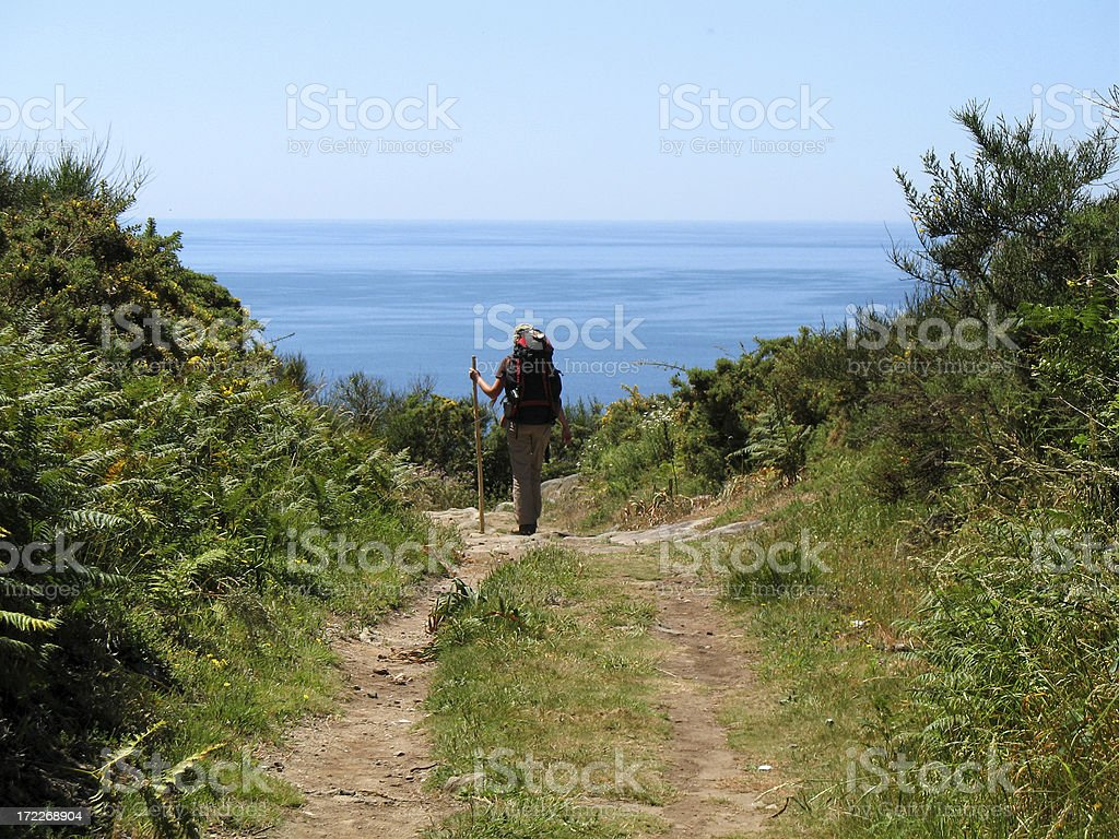 Hiking to the Ocean royalty-free stock photo