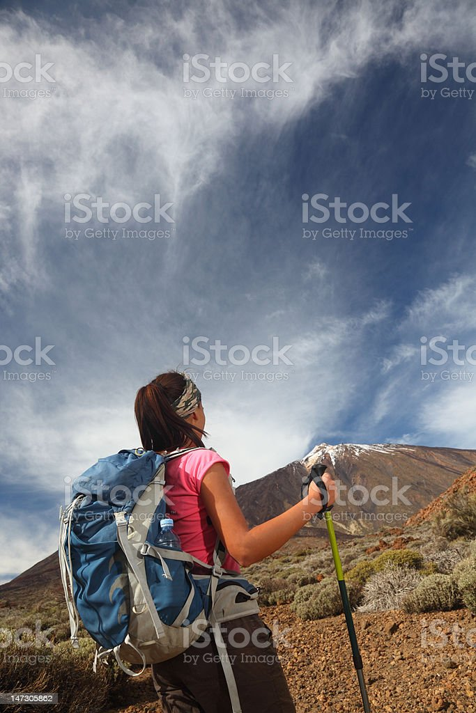 Hiking to the summit royalty-free stock photo