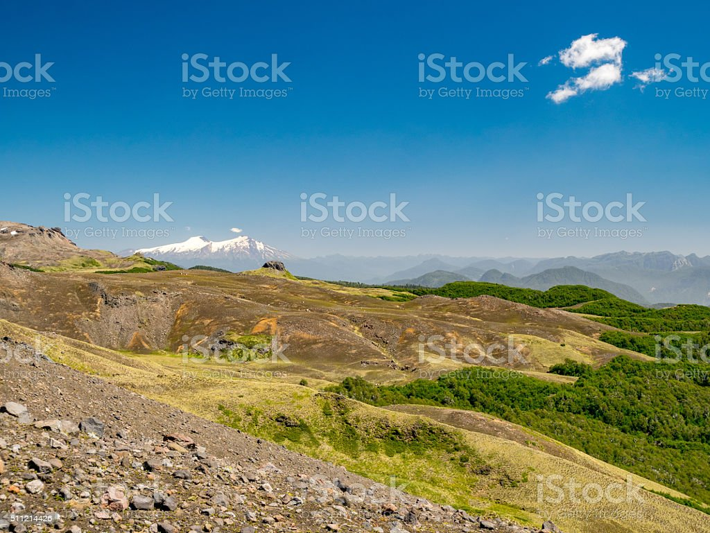 Hiking to the Vulkan Quetrupillan royalty-free stock photo