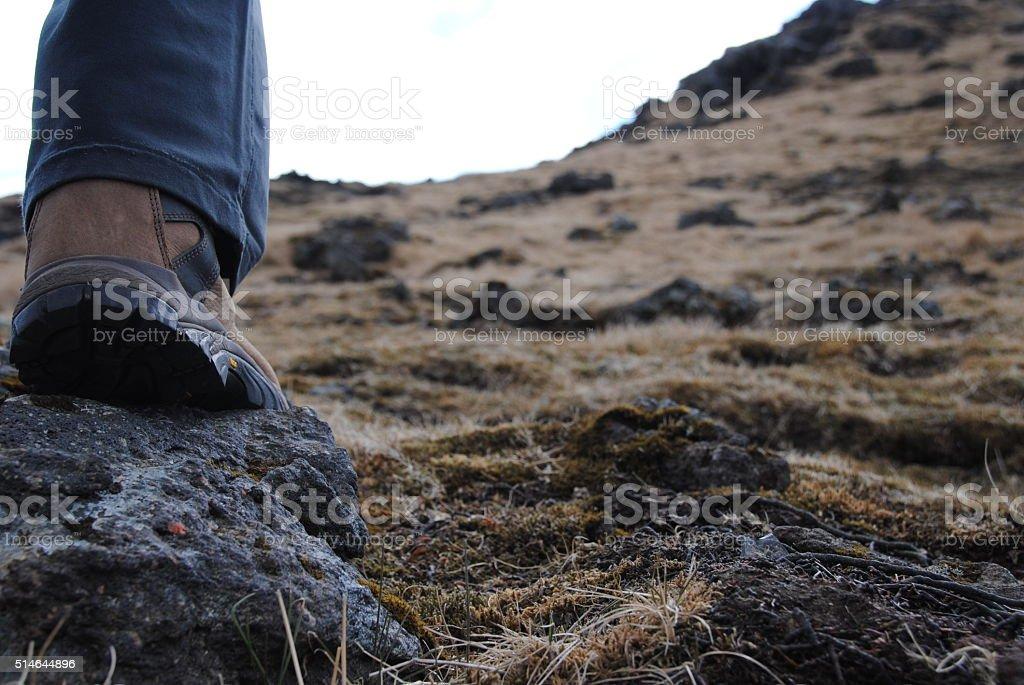 Hiking to vulcano stock photo