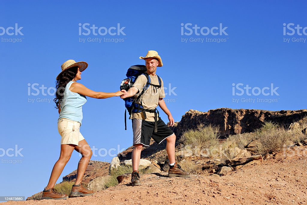Hiking Together royalty-free stock photo