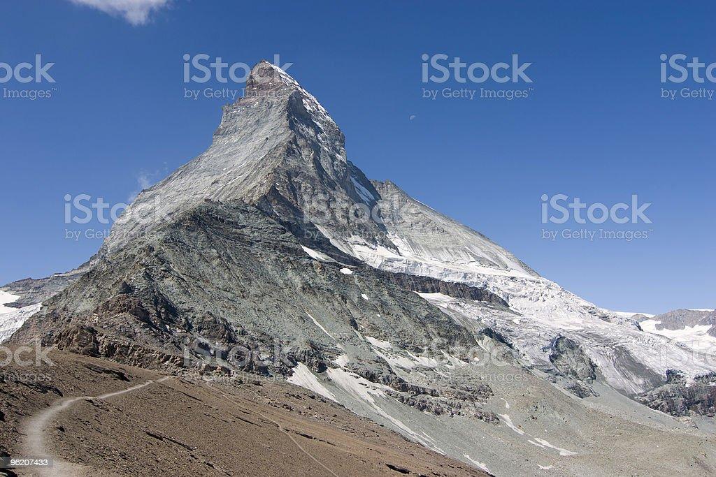 Hiking towards the Matterhorn stock photo