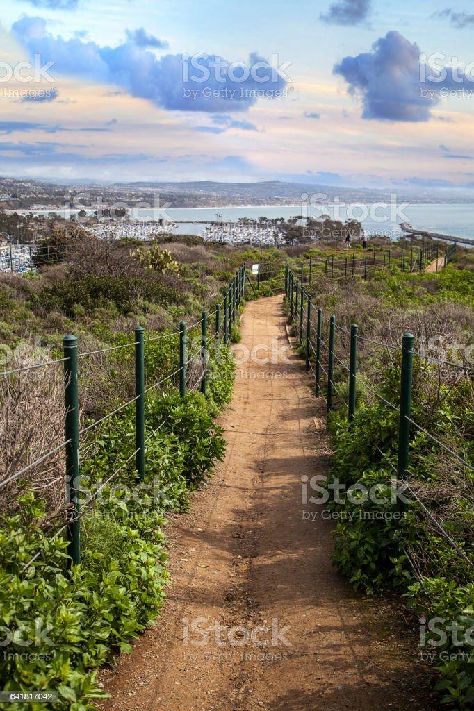Hiking trail above Dana Point Harbor stock photo