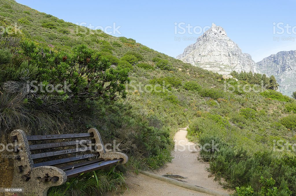 Hiking Trail along Lions Head towards Table Mountain stock photo