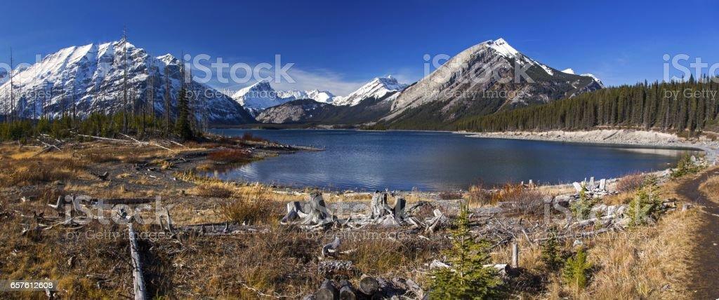 Hiking Trail around upper Kananaskis Lake in Canadian Rockies stock photo