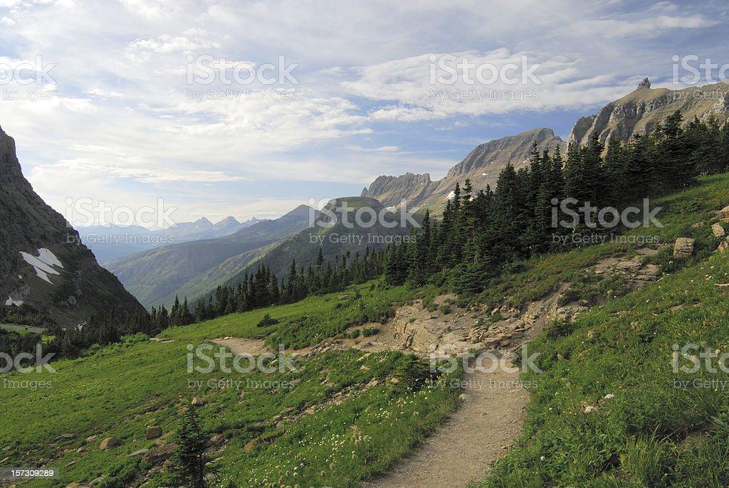 Hiking Trail at Glacier National Park royalty-free stock photo