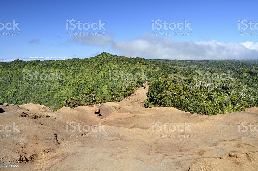 Hiking trail at Kalalau Valley - Kauai, Hawaii stock photo