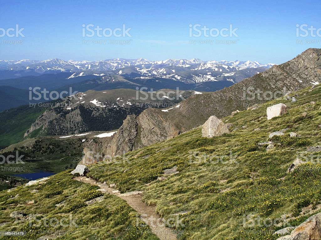 Hiking trail at Mount Evans stock photo
