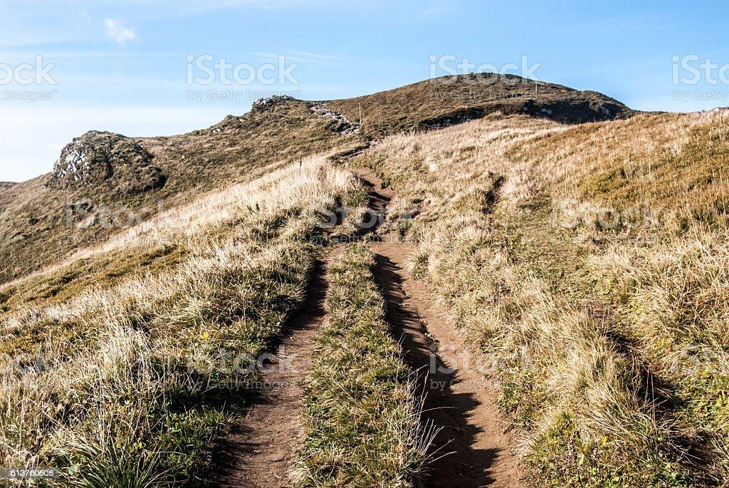 hiking trail in autumn Mala Fatra mountains in Slovakia stock photo