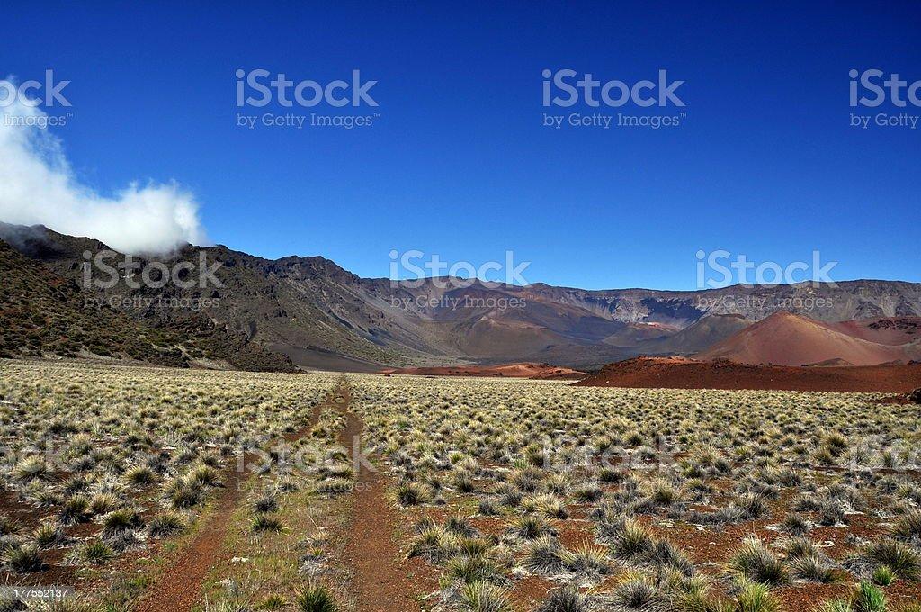 Hiking Trail in Haleakala Crater - Maui Hawaii royalty-free stock photo