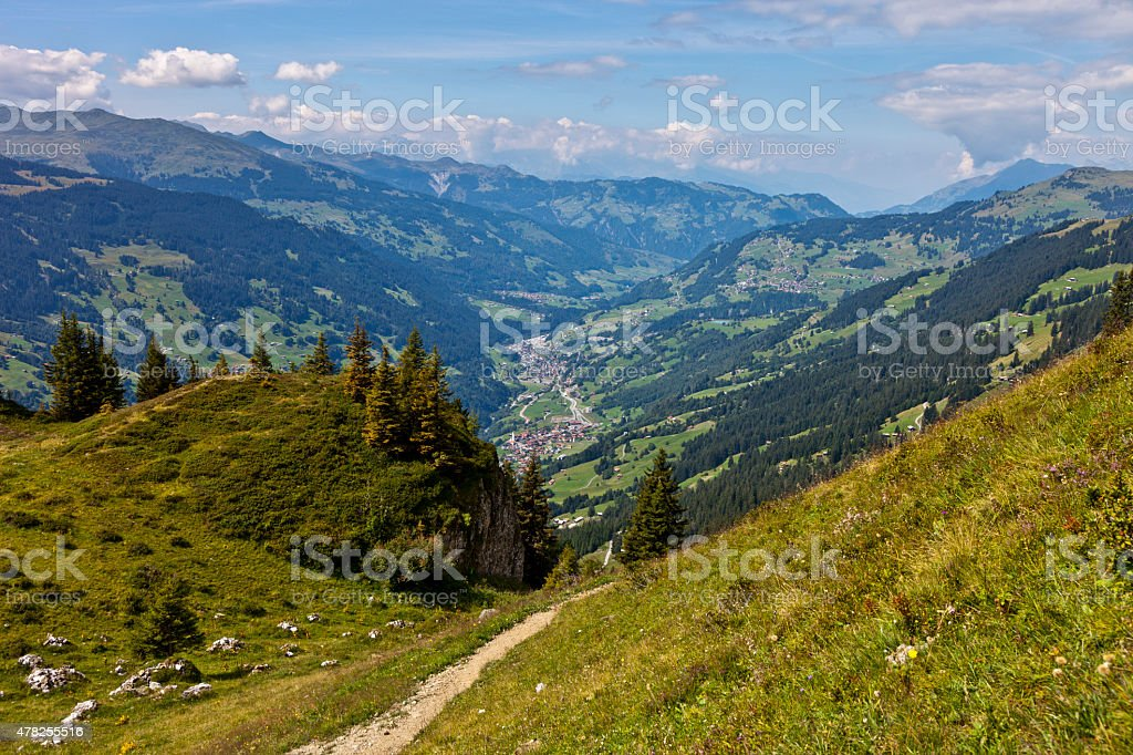Hiking Trail in Prättigau stock photo
