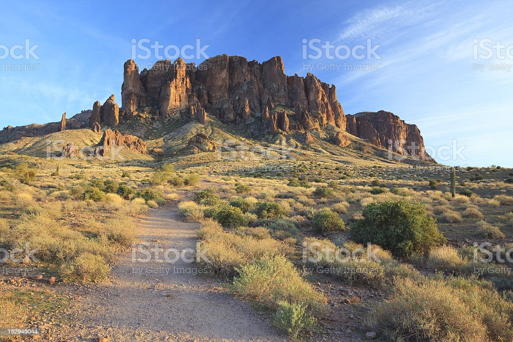 Hiking trail in Superstition Mountains, Arizona royalty-free stock photo