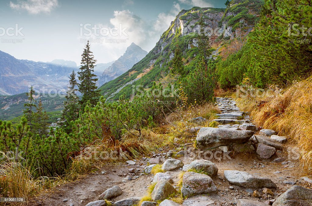 Hiking trail in Tatra National Park, Poland stock photo