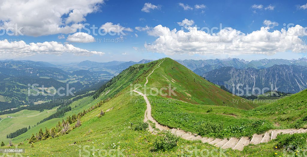 Hiking trail in the Allgau Alps stock photo