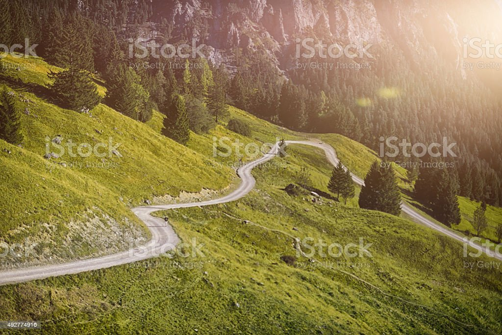 hiking trail in the european alps stock photo