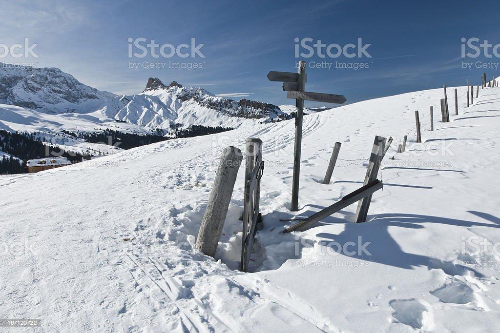 Hiking Trail in the white scenario of Seiser Alm stock photo