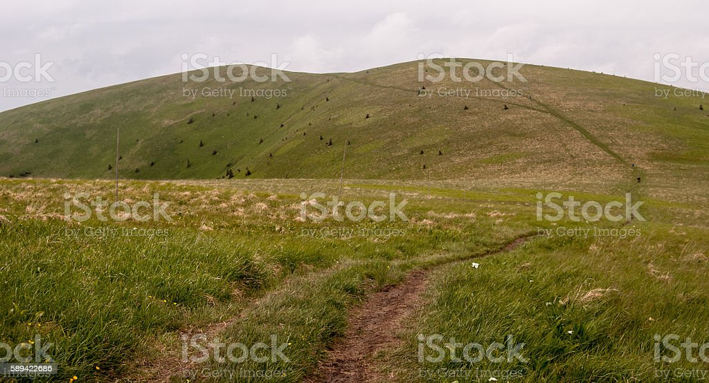 hiking trail in Velka Fatra mountains stock photo