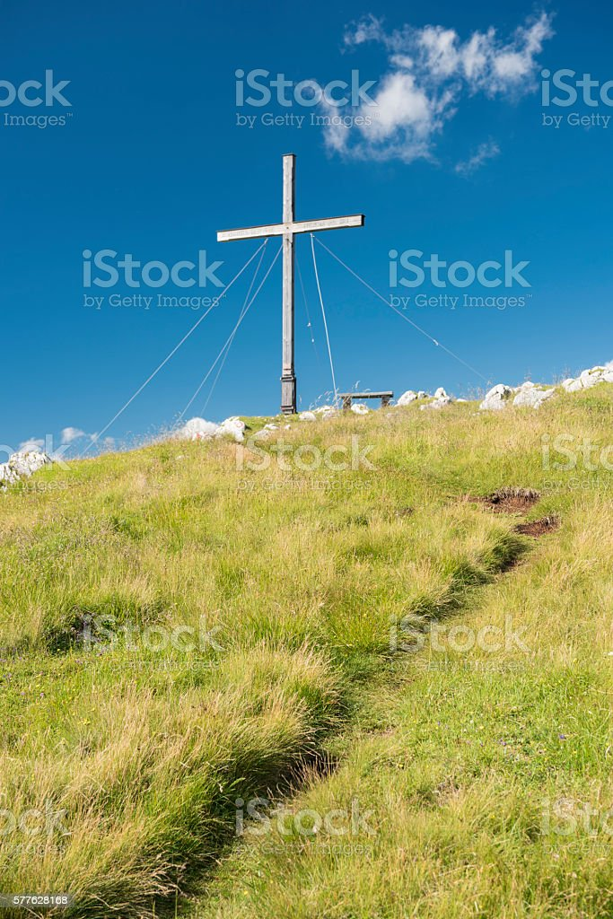 Hiking Trail leading to Summit Cross, Austrian Alps stock photo