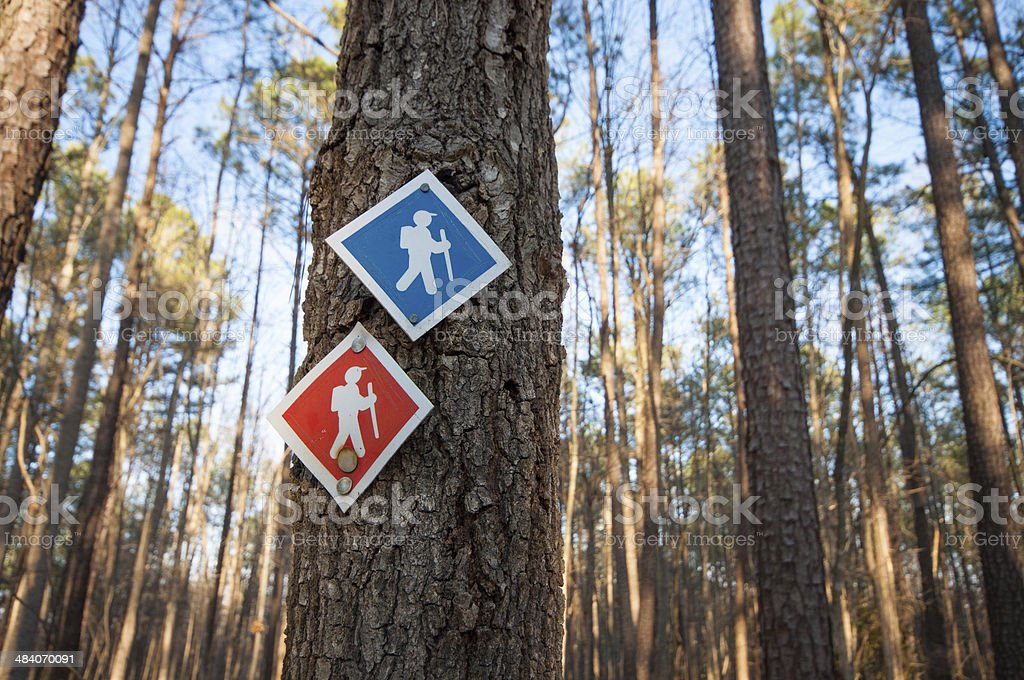 Hiking trail markers stock photo