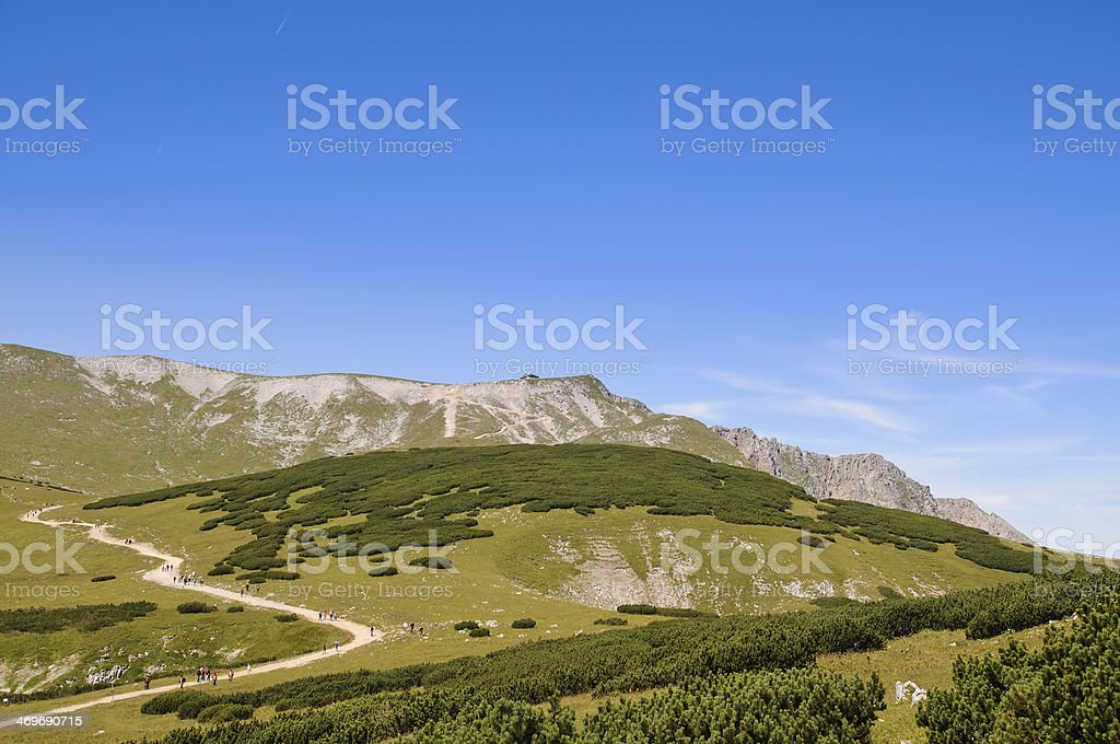 hiking trail on Schneeberg, the highest mountain in Lower Austria stock photo