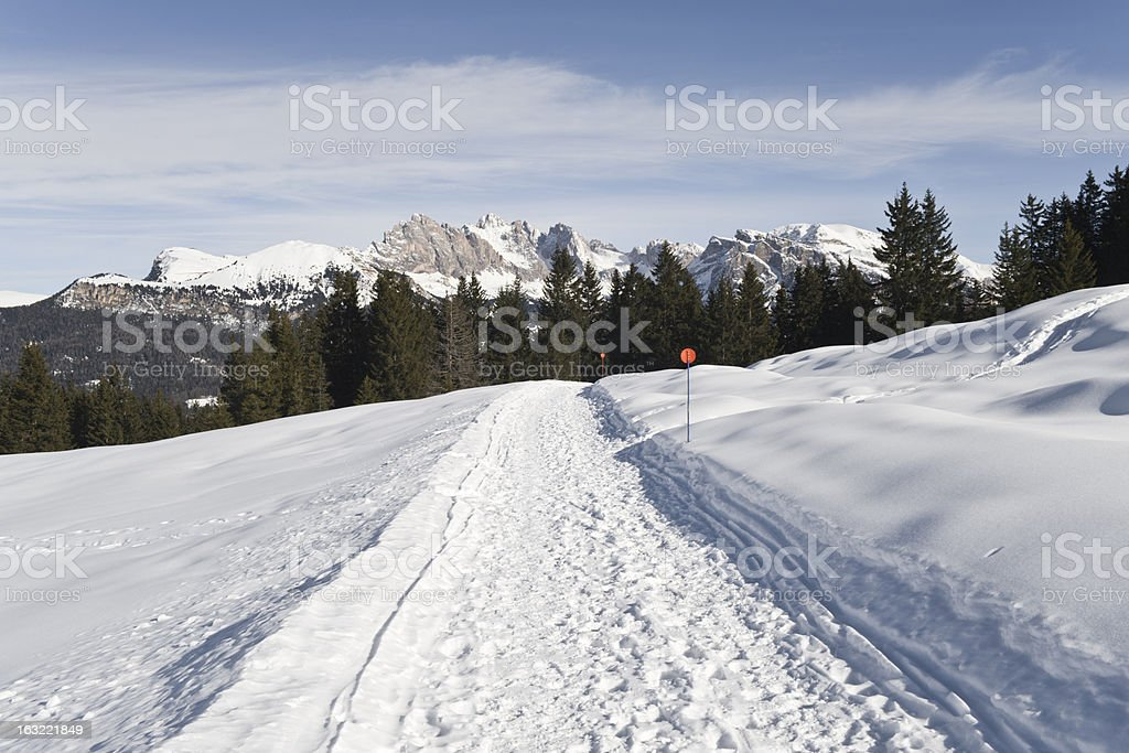 Hiking Trail on Seiser Alm, with Odle in the background stock photo