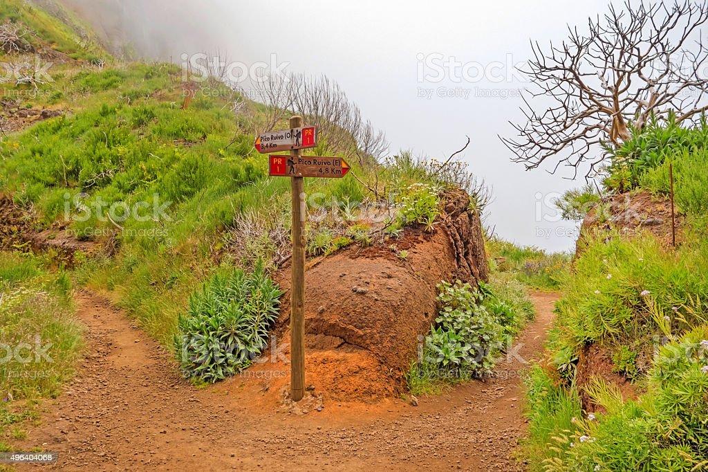 Hiking trail passage Pico Arieiro to Pico Ruivo stock photo