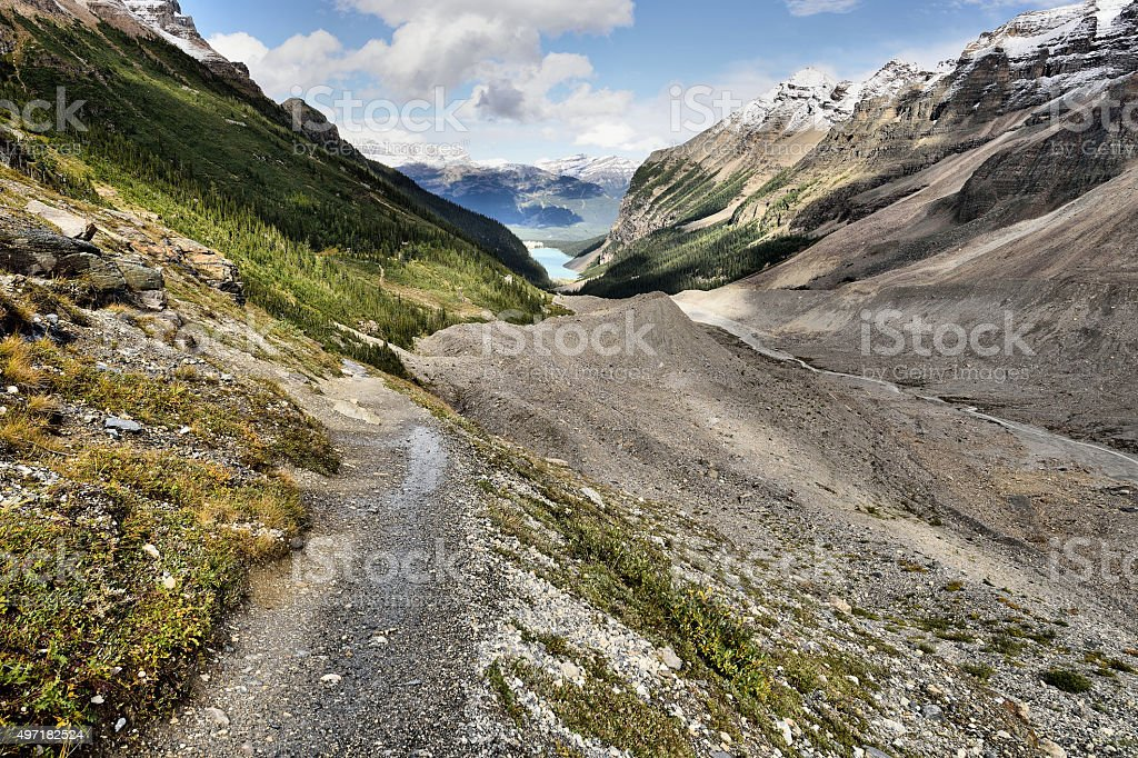 Hiking Trail Plain Of The Six Glaciers stock photo