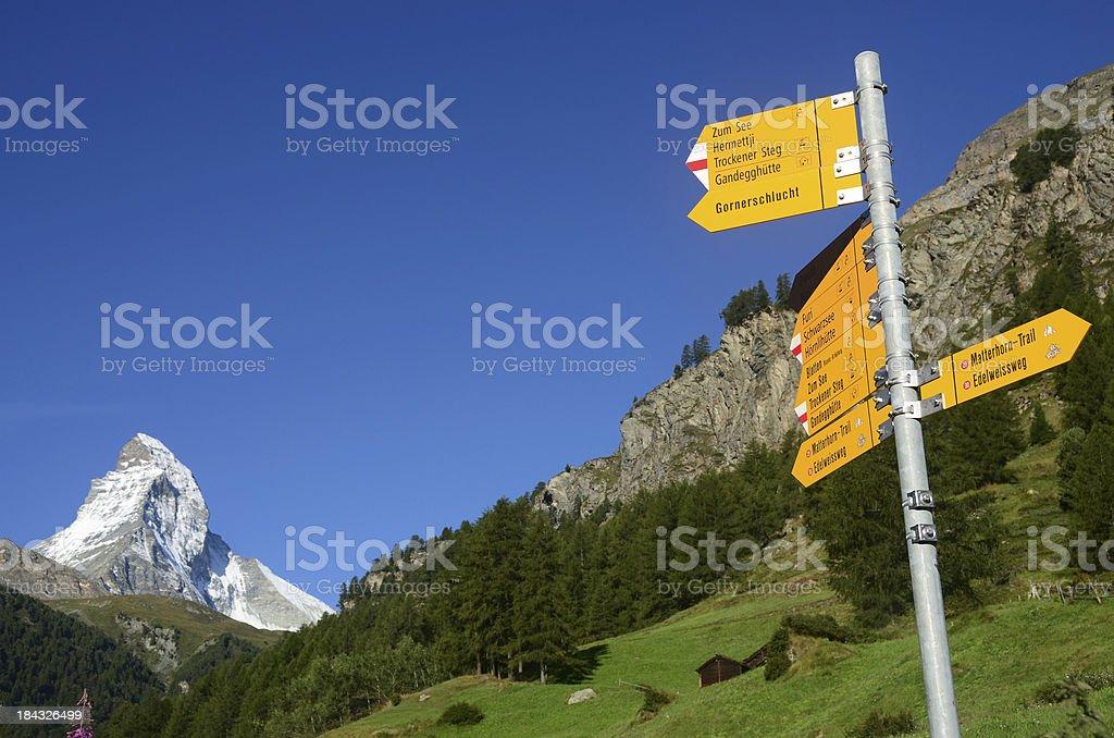Hiking Trail Sign in Zermatt stock photo
