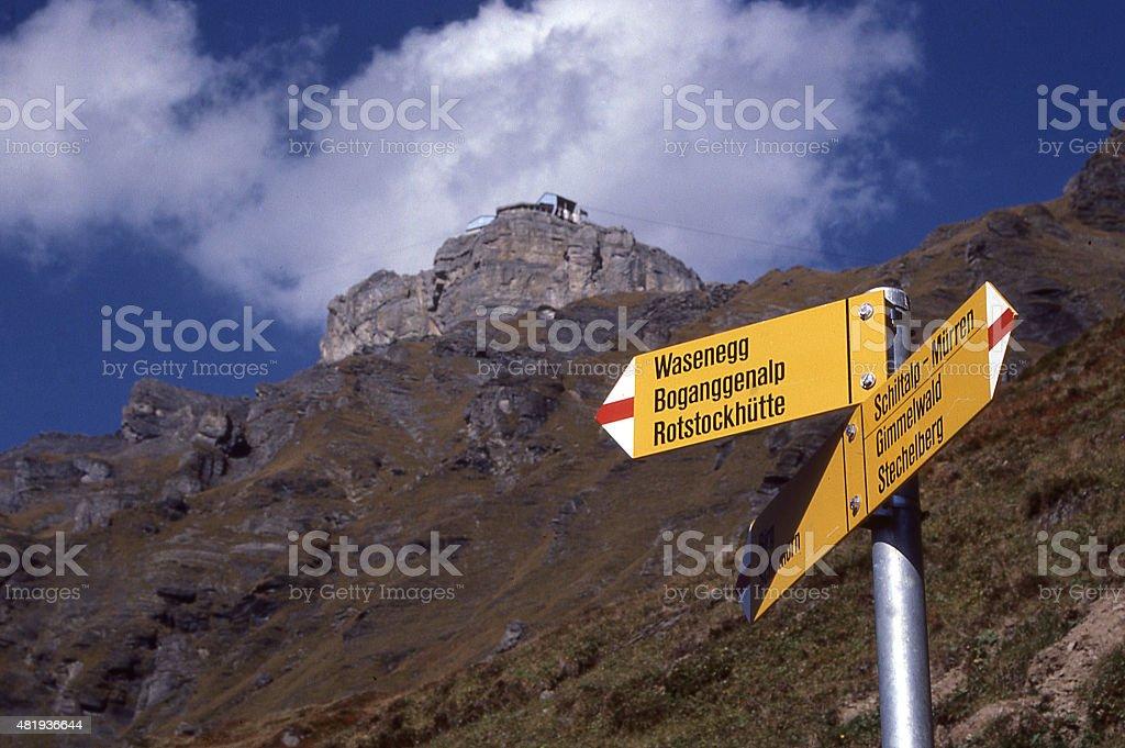 Hiking Trail Signs Schiltalp Ski Station Gimmelwald Village Grindelwald Switzerland stock photo