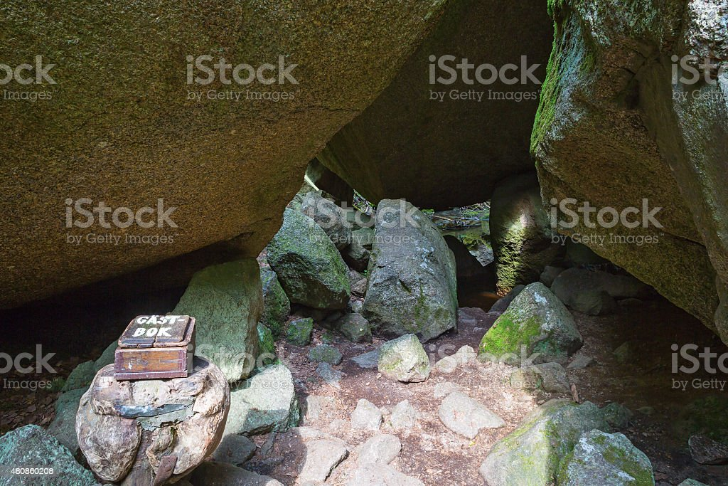 Hiking trail through the caves of rocks stock photo